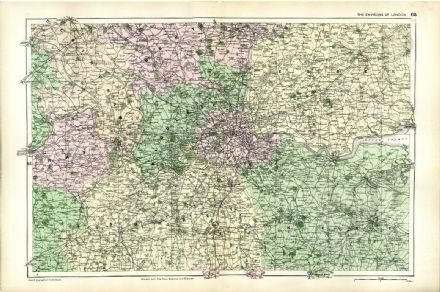 1896 Antique Map LONDON ENVIRONS Parks HOUSES Lodges RAILWAYS Stations